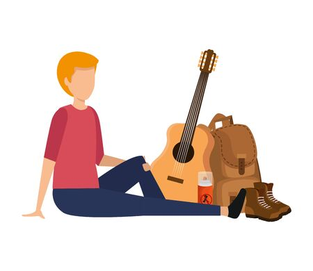 young man with guitar and camping equipment vector illustration design Ilustracja