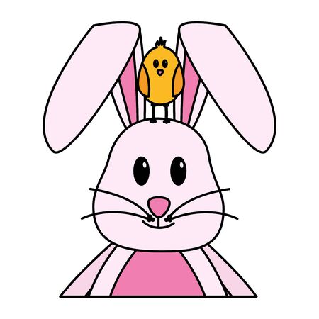 happy easter rabbit and chick vector illustration