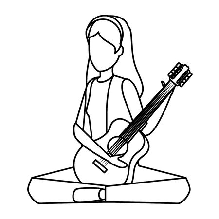 young woman playing guitar instrument vector illustration design