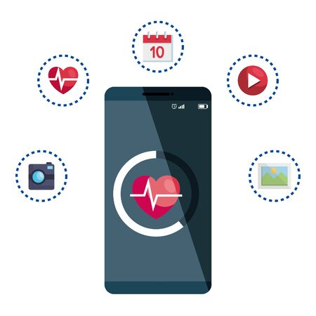 smartphone with heart cardio and applications vector illustration design