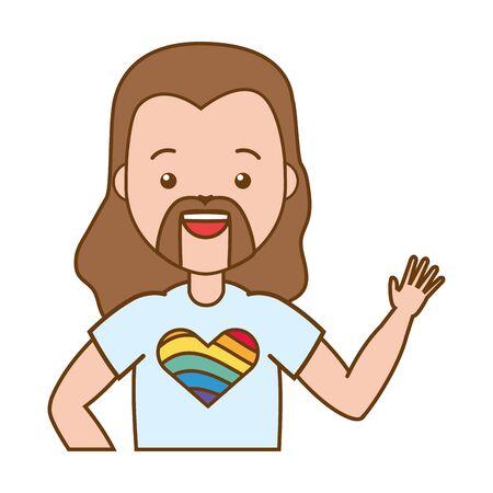 man and t shirt lgbt pride vector illustration Иллюстрация