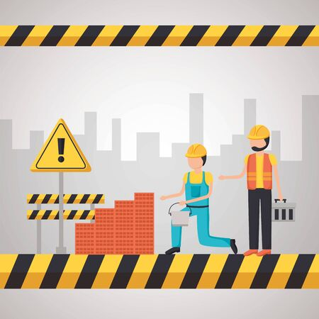 workers construction wall brick toolbox and barrier equipment vector illustration Stock Illustratie