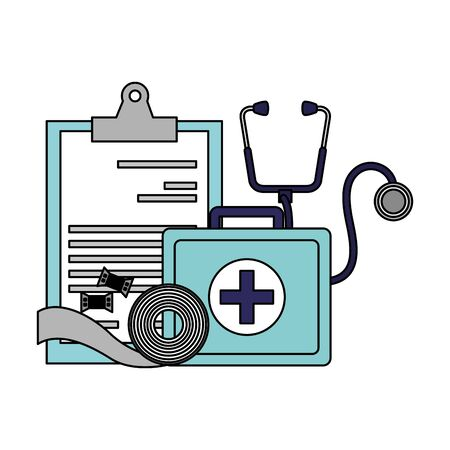 medical suitcase clipboard stethoscope bandage vector illustration