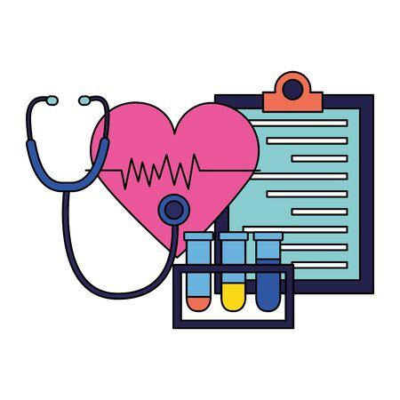 medical heart stethoscope flasks clipboard vector illustration