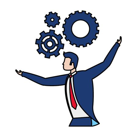 businessman gears work business success vector illustration
