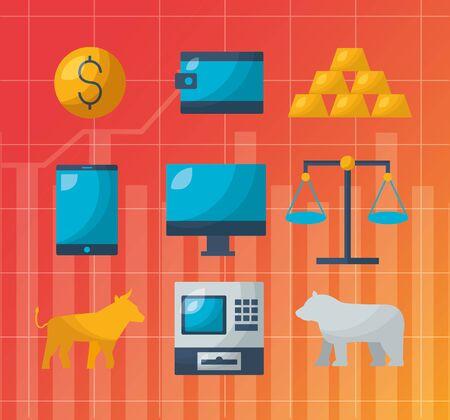 bull bear digital technology financial stock market vector illustration