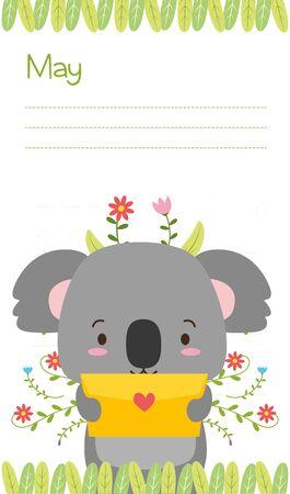 cute koala animal calendar cartoon vector illustration 스톡 콘텐츠 - 129252534