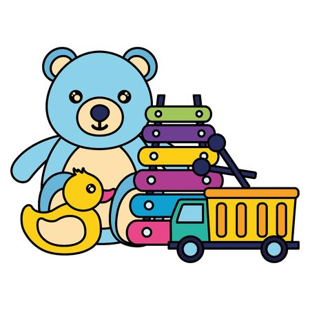 kids toys bear duck truck xylophone vector illustration Vectores