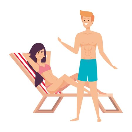 young couple relaxing in beach chair avatars characters vector illustration design