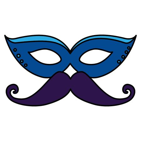 carnival mask with mustache icon vector illustration design Çizim