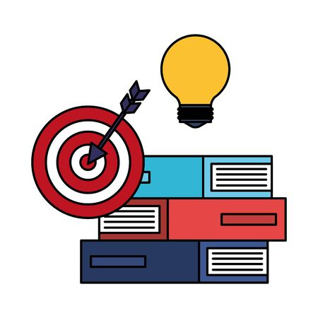 target arrow success with books and bulb vector illustration design
