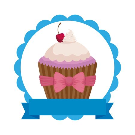 lace with sweet delicious cupcake pastry icon vector illustration design