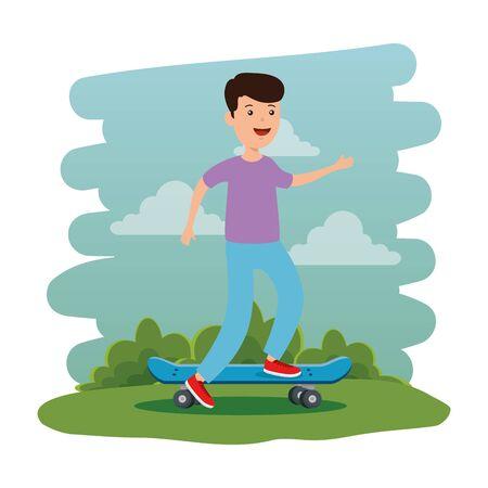 happy young boy in skateboard on the park scene vector illustration design