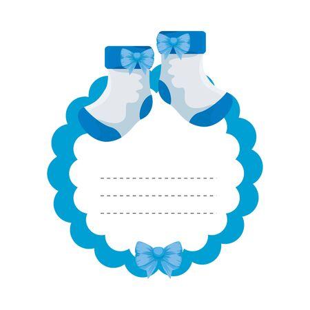 baby shower card with socks vector illustration design Ilustracja