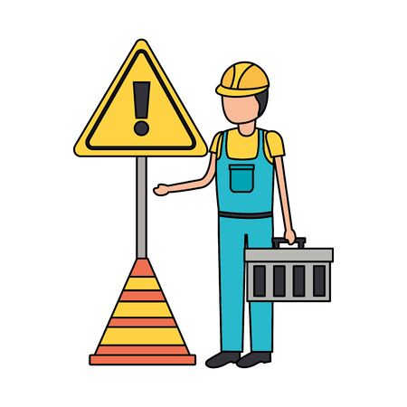 construction worker box traffic cone alert sign vector illustration  イラスト・ベクター素材