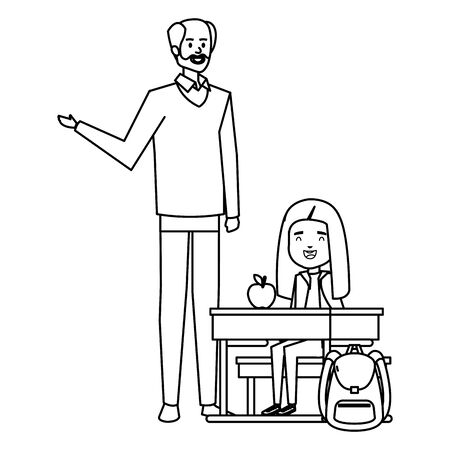 student girl in school desk with male teacher vector illustration design Ilustração