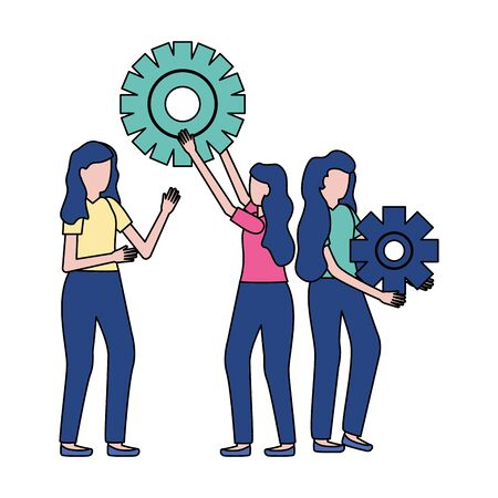 business women holding gears work vector illustration