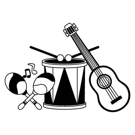 drum guitar maracas music brazil carnival vector illustration