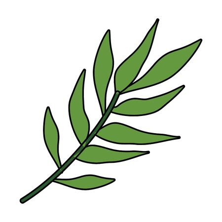 branch with leafs plants icon vector illustration design Çizim