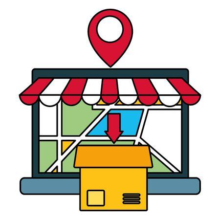 laptop box map navigation pointer fast delivery business vector illustration
