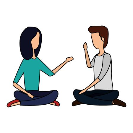 elegant business couple practicing yoga vector illustration design Ilustracja