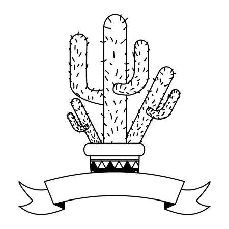 potted cactus mexico cinco de mayo sticker vector illustration