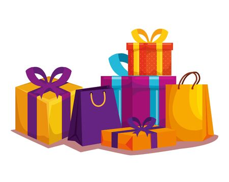 gift boxes and shopping bags packings icons vector illustration design Ilustração