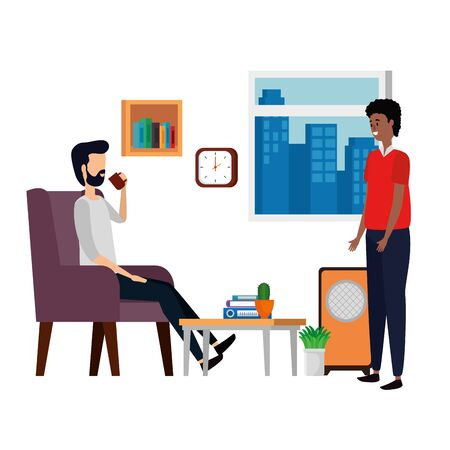 men in living room place scene vector illustration design