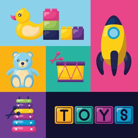 rocket bear drum  xylophone pyramid kids toys collection vector illustration Ilustracja