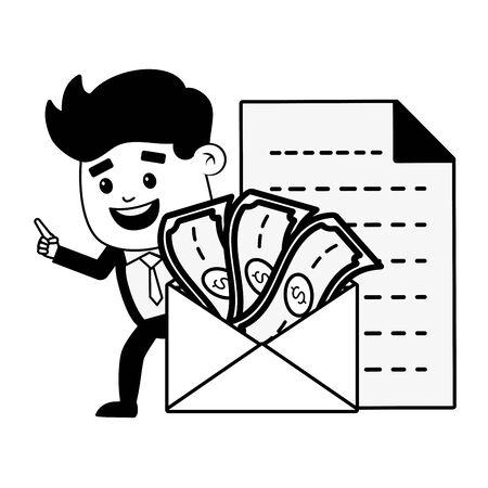 businessman money dcoument online banking vector illustration Ilustrace