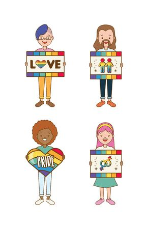 happy group women boards heart lgbt pride vector illustration Banco de Imagens - 129252145
