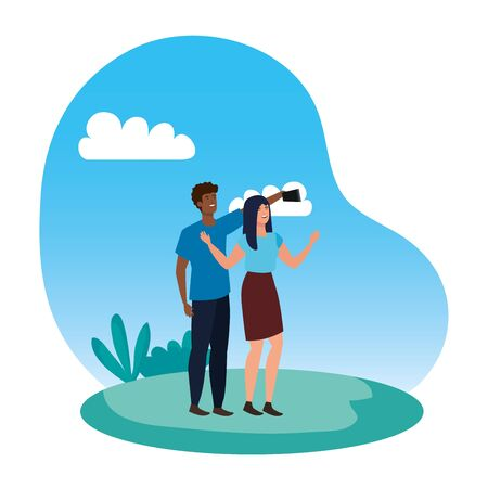 interracial lovers couple taking a selfie in the camp vector illustration design 일러스트