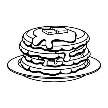 süße Pfannkuchen mit Ahornsirup-Vektor-Illustration-Design