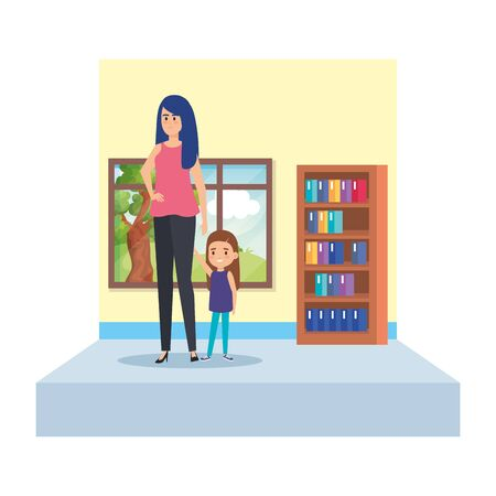 female teacher and little girl in school classroom vector illustration design