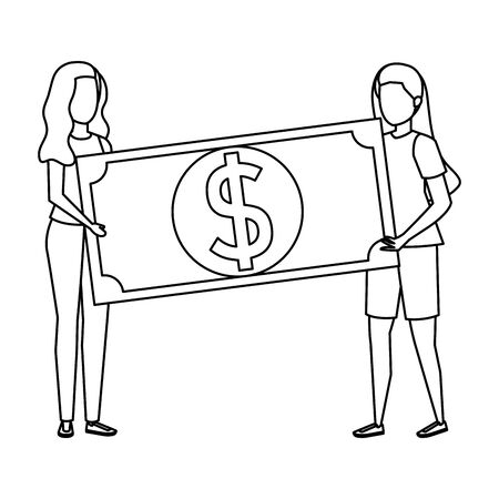 young women lifting bill money dollar characters vector illustration design