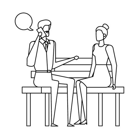 business couple calling in the park chair and speech bubbles vector illustration Ilustracja