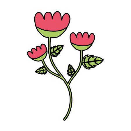 flower with stem and leaves white background vector illustration Standard-Bild - 129252087