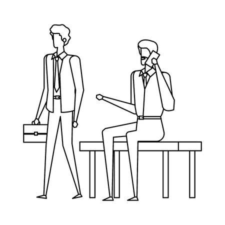 businessmen calling with cellphones in the park chair vector illustration design Ilustracja