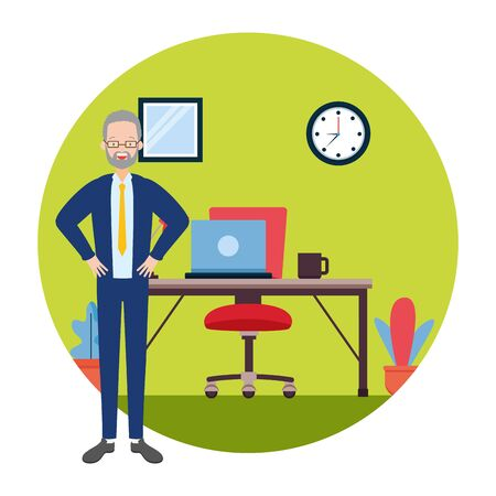 businessman desk chair laptop clock coffee cup office workspace vector illustration