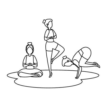 beauty girls group practicing pilates position vector illustration design