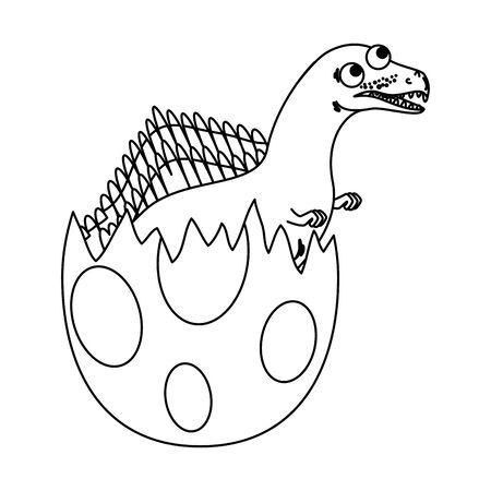 cute newborn espinosaurus breaking shell vector illustration design