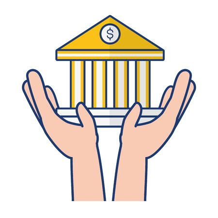 hands holding bank saving online banking vector illustration Ilustrace