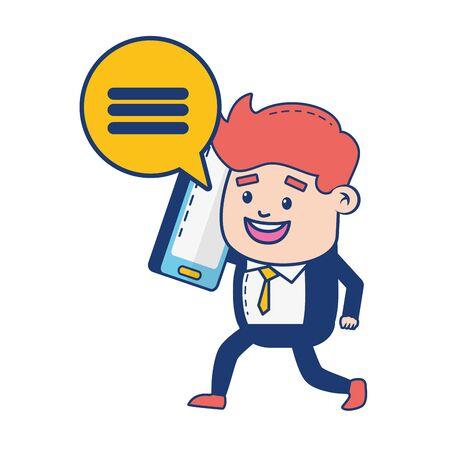 businessman mobile talking character vector illustration design