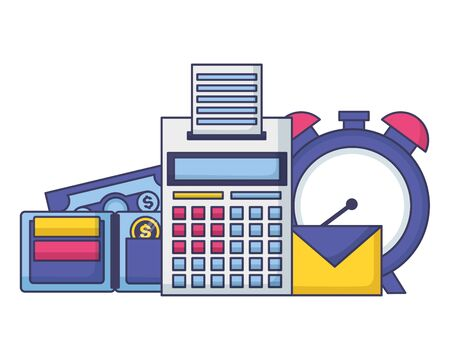 clock calculator wallet money tax time payment vector illustration Ilustrace