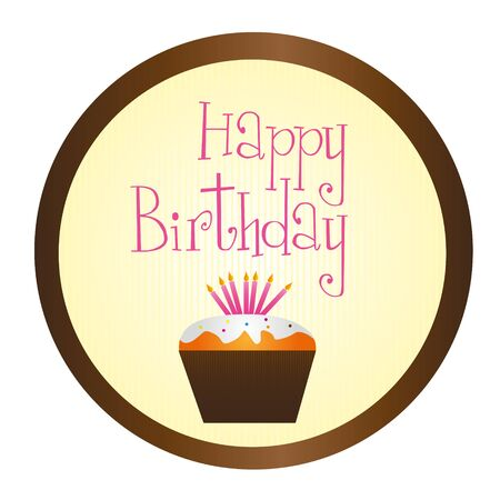 cup cake happy birthday circle sign isolated over white background. vector