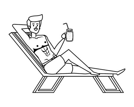 young man relaxing in beach chair drinking juice fruit vector illustration design Çizim