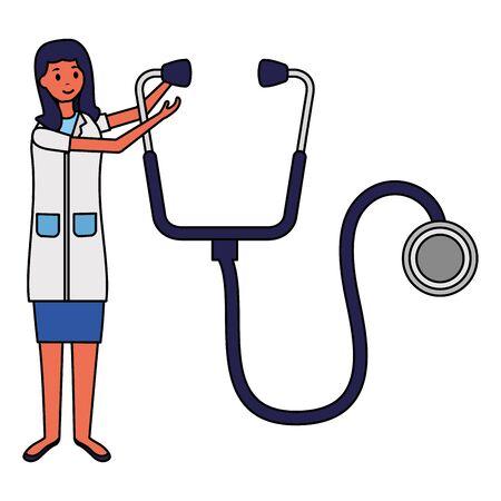 woman doctor stethoscope medical vector illustration design