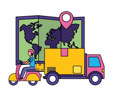 truck scooter map navigation gps fast delivery vector illustration