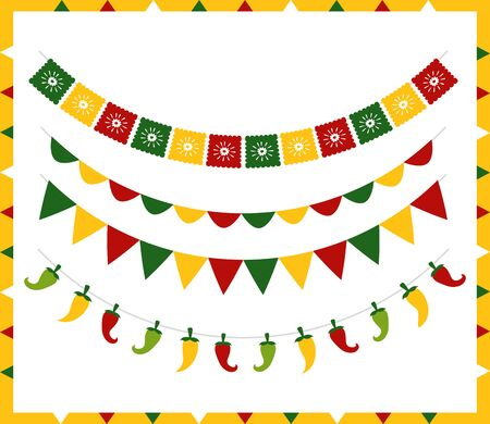 garland chili peppers decoration mexico cinco de mayo vector illustration Stock Illustratie
