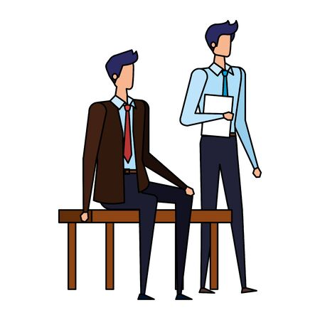 elegant businessmen seated in the park chair vector illustration design Ilustracja